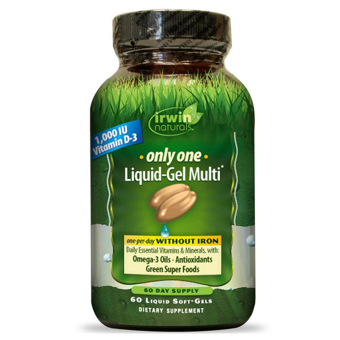Irwin Naturals Vitamins, Minerals, Herbs & More Irwin Naturals Only One Liquid-Gel Multi without Iron 60 Liquid Softgels (581259919404)