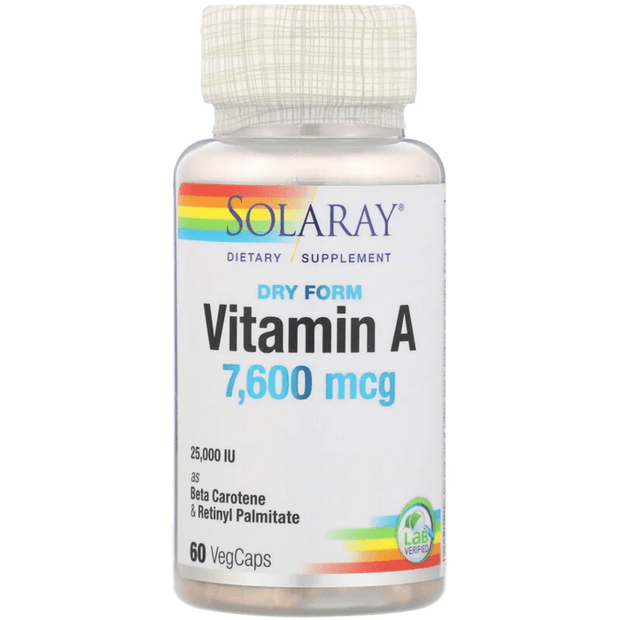 Solaray Vitamins, Minerals, Herbs & More Solaray Emulsified Dry Vitamin A 25,0000 IU 60 Caps