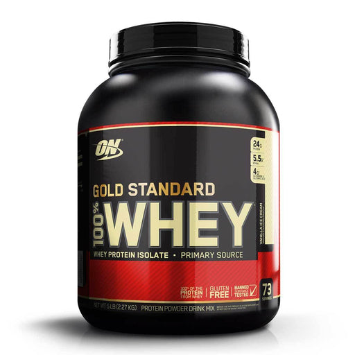 Optimum Nutrition Sports Nutrition & More Vanilla Ice Cream Optimum Nutrition 100% Whey Protein Gold 5 Lbs (580580671532)