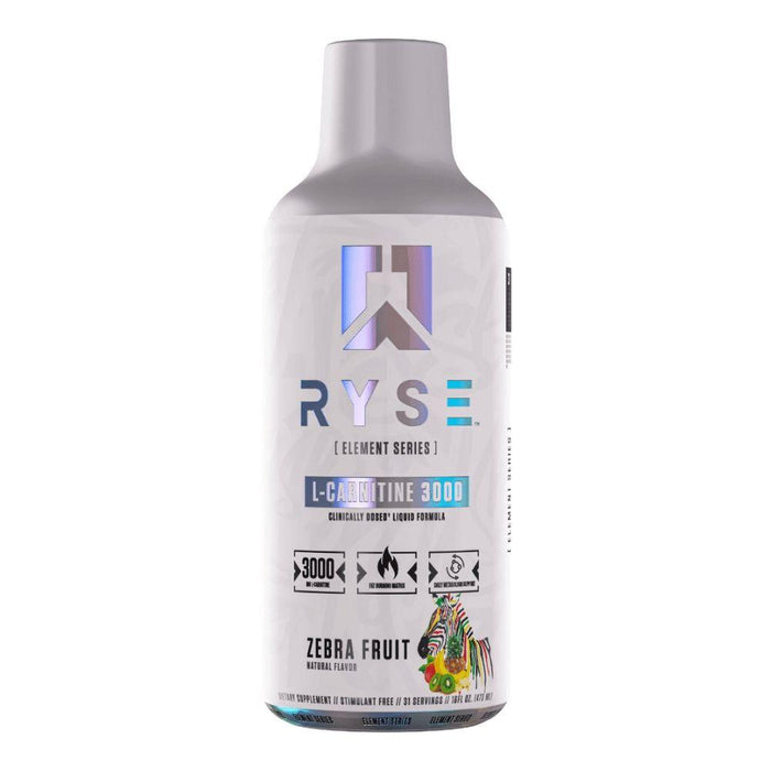 Ryse Supplements Fat Burner Zebra Fruit Ryse Supplements Liquid L-Carnitine 3000 31 Servings (4471612145779)