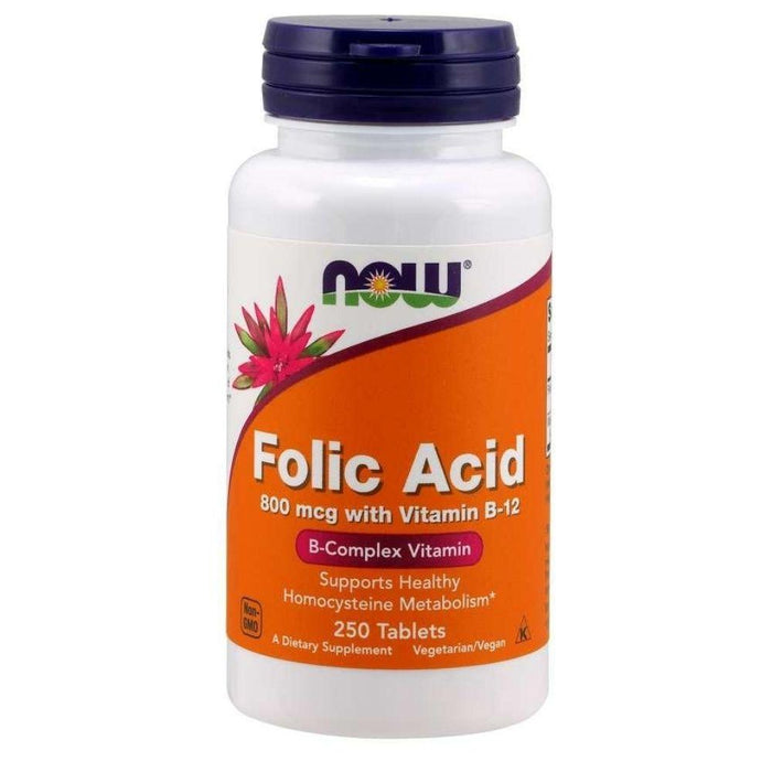 Now Foods Vitamins & Minerals Default Now Foods Folic Acid 800mcg 250 Tablets (1819382317100)