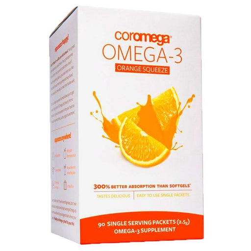Coromega Vitamins, Minerals, Herbs & More Orange Coromega Omega-3 90 Packs (580622614572)
