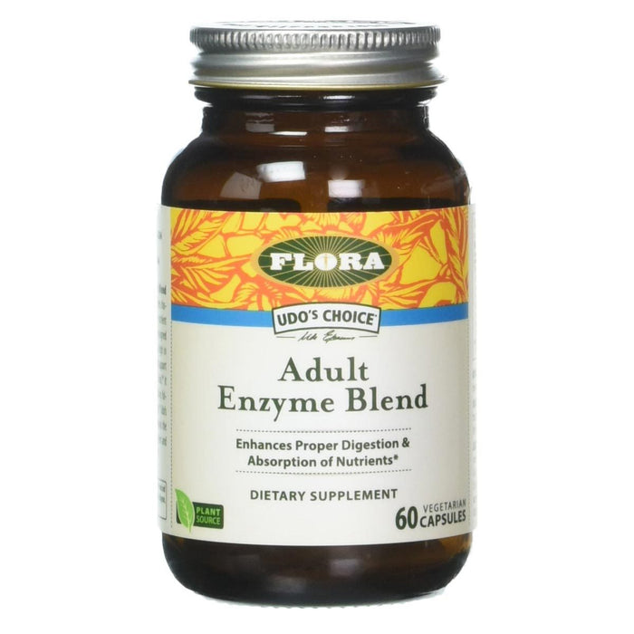 Flora (Udo's Choice) Vitamins, Minerals, Herbs & More Flora Udo's Adult Enzyme Blend 60 Caps (581252218924)