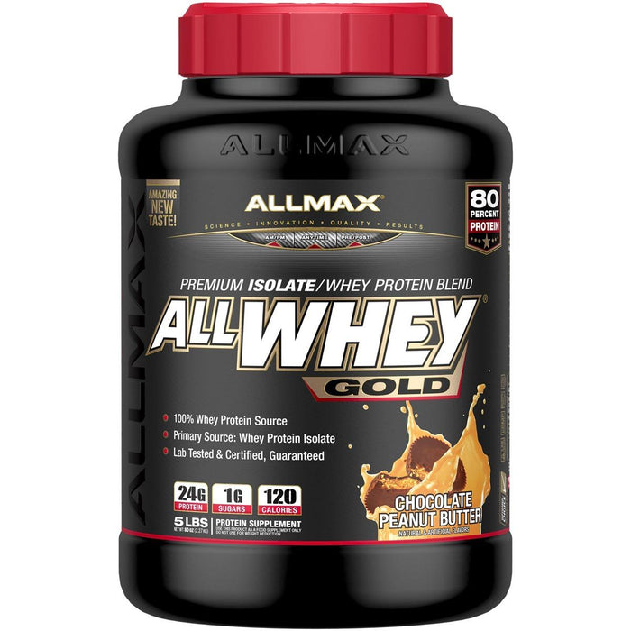 Allmax Nutrition Sports Nutrition & More Chocolate Peanut Butter Allmax Nutrition AllWhey Gold 5 Lbs (581219516460)