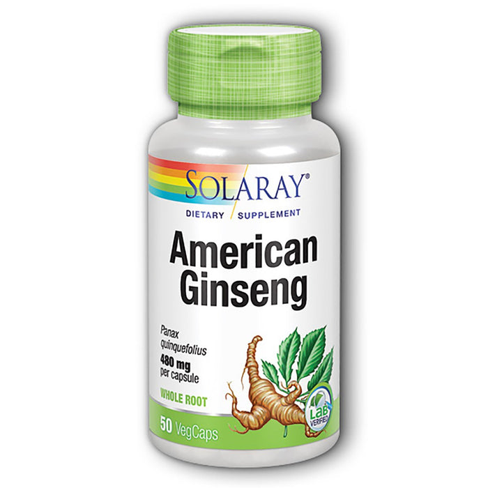 Solaray Vitamins, Minerals, Herbs & More Solaray American Ginseng Root 480mg 50 caps (580504780844)
