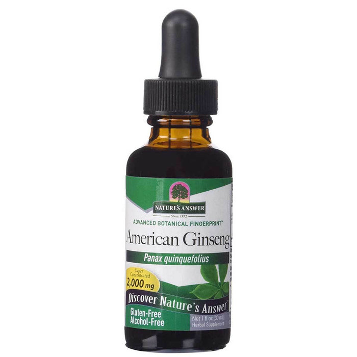 Nature's Answer Vitamins, Minerals, Herbs & More Nature's Answer Alcohol Free Liquid American Ginseng 1 Fl Oz (580824203308)