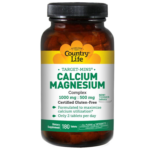 Country Life Vitamins, Minerals, Herbs & More Country Life Calcium-Magnesium Complex 1000 mg/500mg 180 tabs (580479385644)