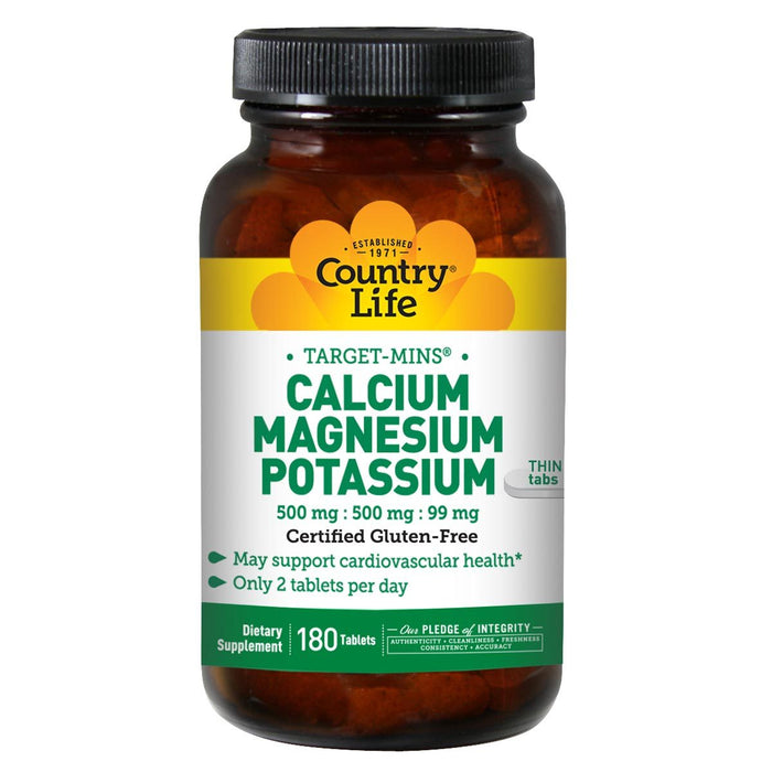 Country Life Vitamins, Minerals, Herbs & More Country Life Calcium-Magnesium-Potassium 180 Tabs (580479582252)