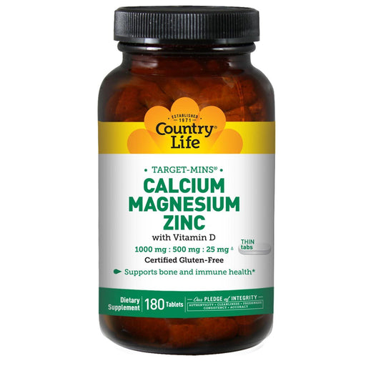 Country Life Vitamins, Minerals, Herbs & More Country Life Target-Mins Calcium Magnesium Zinc 180 Tablets (580479778860)
