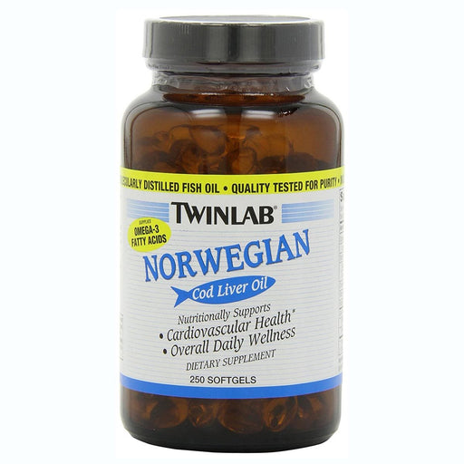 Twinlab Vitamins, Minerals, Herbs & More Twinlab Norwegian Cod Liver Oil 250 Softgels (581823889452)
