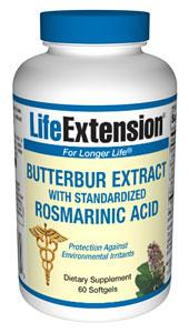 Life Extension Vitamins, Minerals, Herbs & More Life Extension 75mg Butterbur Extract with Standardized Rosmarinic Acid 60 Softgels (581083365420)