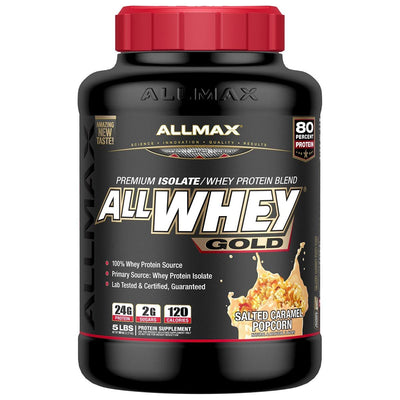 Allmax Nutrition Sports Nutrition & More Salted Caramel Popcorn Allmax Nutrition AllWhey Gold 5 Lbs (581219516460)