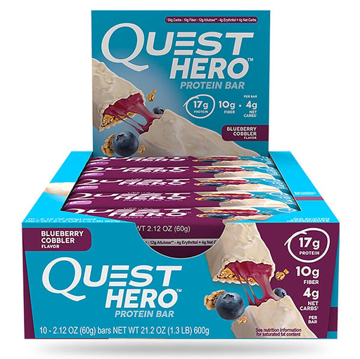 Quest Nutrition Sports Nutrition & More Blueberry Cobbler Quest Nutrition Hero Bars 10/Box (582569590828)