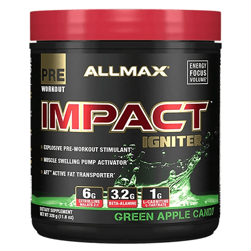 Best Price Nutrition CLEARANCE: Allmax Impact Igniter PreWorkout Geen Apple Candy EXP 12/2020