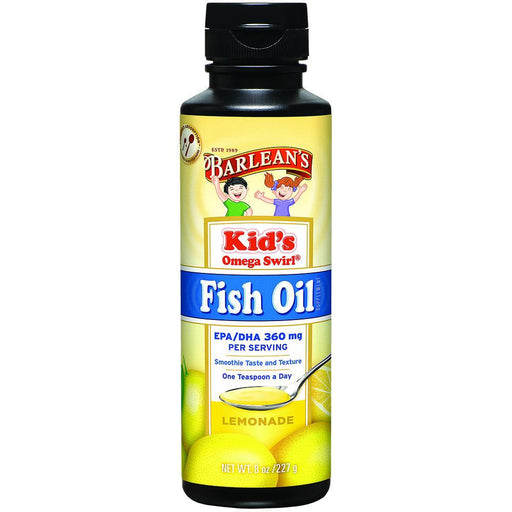 Barlean's Vitamins, Minerals, Herbs & More Barlean's Kid's Omega Swirl Omega-3 Fish Oil Supplement Lemonade 8 Fl Oz (581253693484)