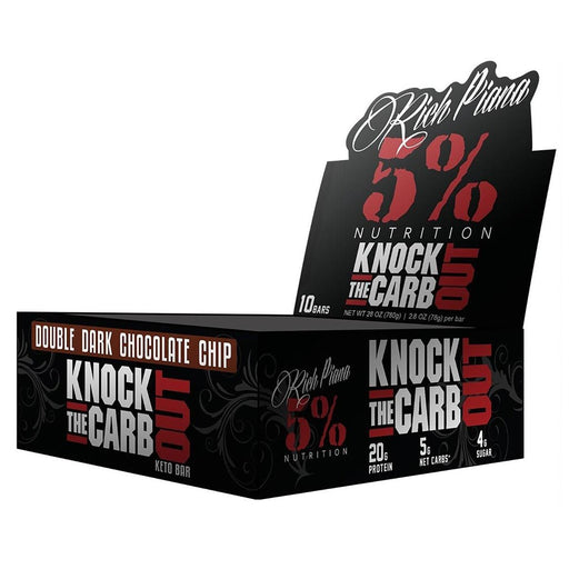 5% Nutrition Bars Double Dark Chocolate Chip 5% Nutrition Knock The Carb Out 10/Box (1284132241452)