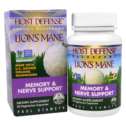 Fungi Perfect Vitamins, Minerals, Herbs & More Fungi Perfect Host Defense Lion's Mane 30 Vege Caps (582469582892)