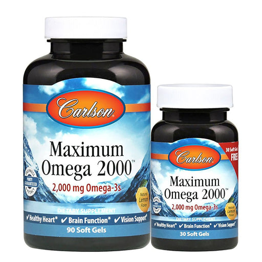 Carlson Vitamins, Minerals, Herbs & More Carlson Maximum Omega 2000 90+30 Lemon Flavor Soft Gels (889048498220)