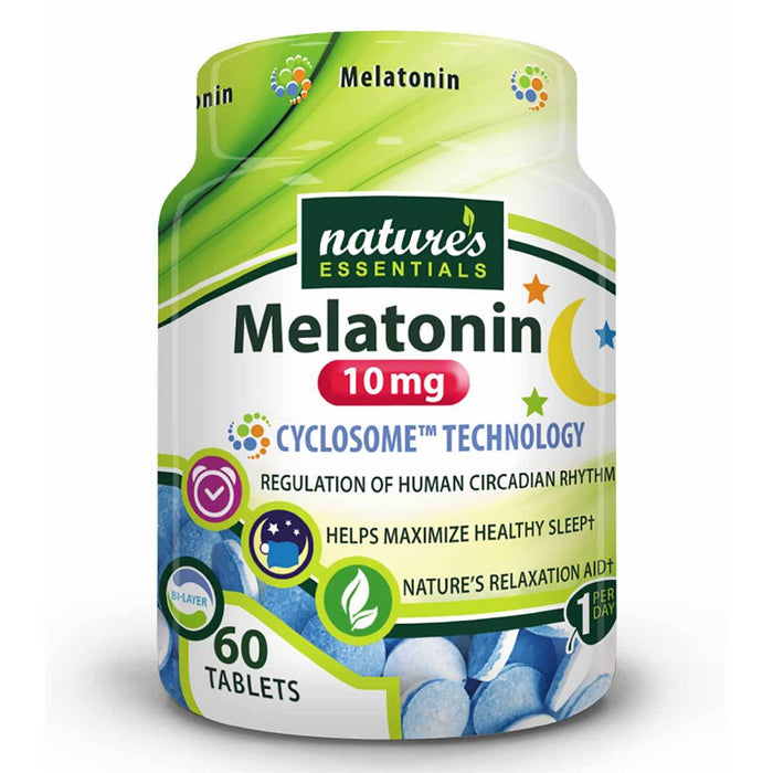 Nature's Essentials Vitamins, Minerals, Herbs & More Nature's Essentials Melatonin 10mg 60 Tablets (582592626732)