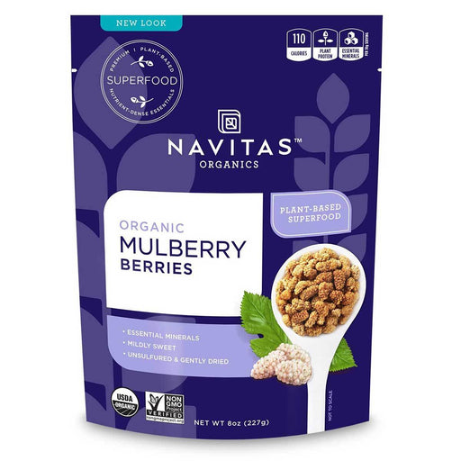 Navitas Naturals Vitamins, Minerals, Herbs & More Navitas Naturals Sun-Dried White Mulberry Berries (Certified Organic) 8 Oz (581248581676)