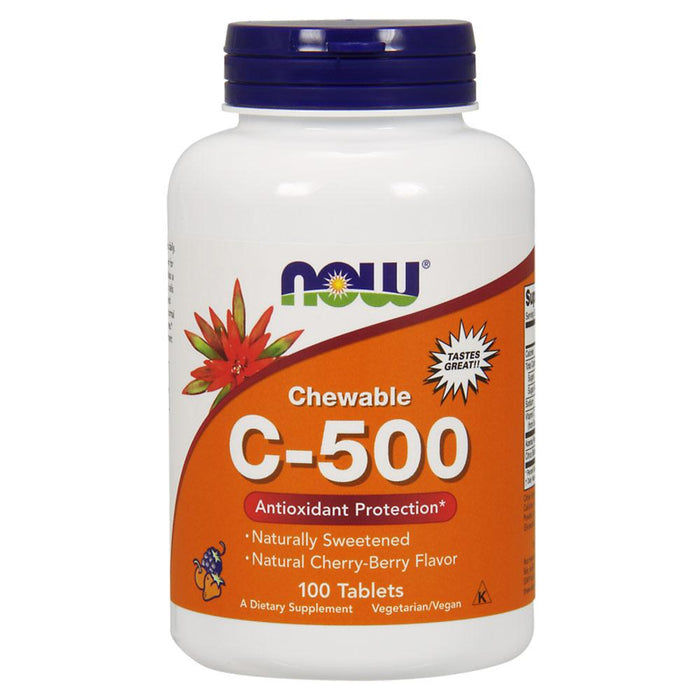 Now Foods Vitamins, Minerals, Herbs & More Now Foods C-500 Chewables Cherry 100 Tablets (582201278508)