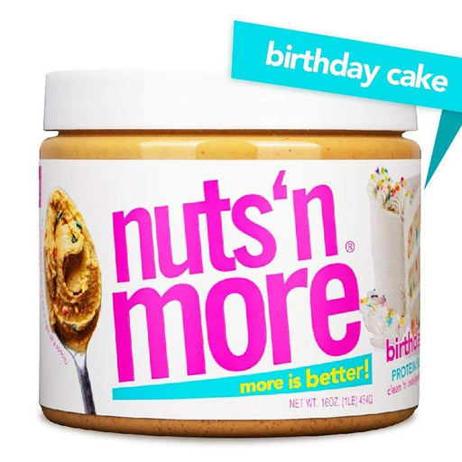 Nuts 'N More Sports Nutrition & More Nuts 'N More Birthday Cake Peanut Butter 16 Oz (582543114284)