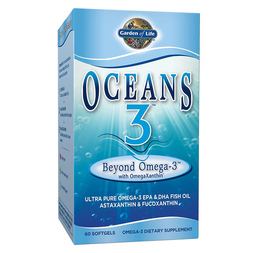 Garden of Life Vitamins, Minerals, Herbs & More Garden of Life Oceans 3 Beyond Omega-3 w/OmegaXanthin 60 Gels (580954062892)