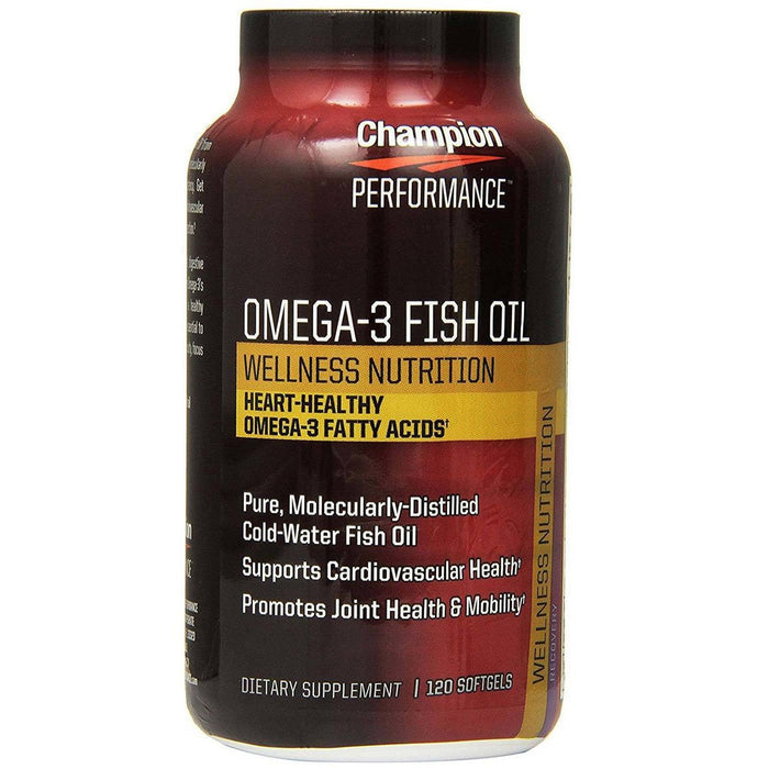 Champion Nutrition Vitamins, Minerals, Herbs & More Champion Nutrition Wellness Nutrition OMEGA 3 Fish Oil 120 Softgels (581824610348)