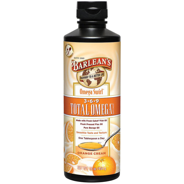 Barlean's Vitamins, Minerals, Herbs & More Barlean's Omega Swirl Total Omega 369 Orange Cream 16 Fl Oz (581108203564)