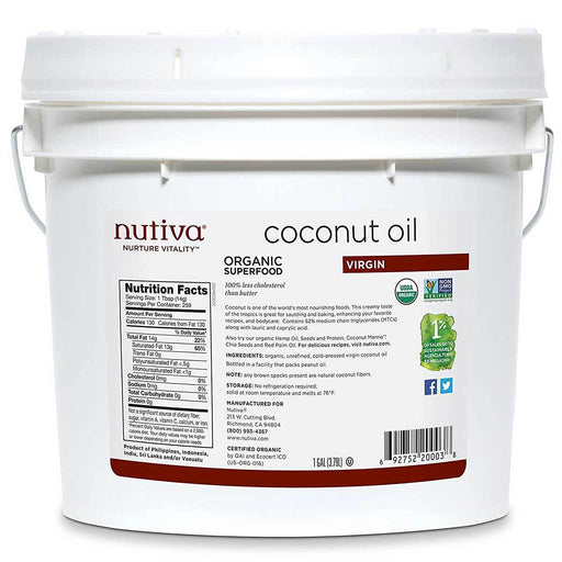 Nutiva Vitamins, Minerals, Herbs & More Nutiva Organic Extra Virgin Coconut Oil 1 Gallon (580861657132)