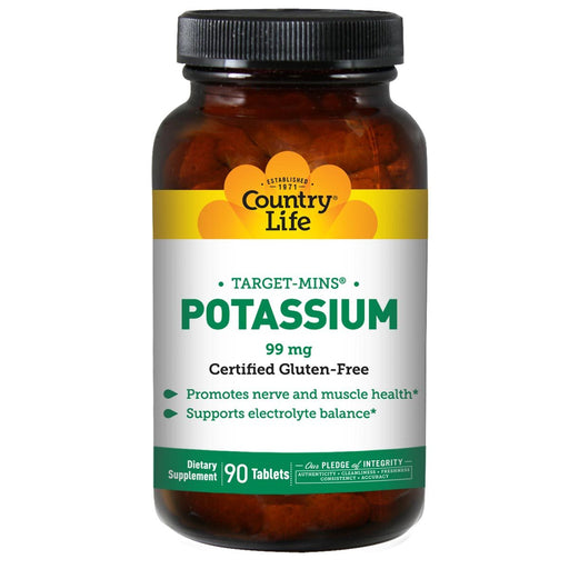 Country Life Vitamins, Minerals, Herbs & More Country Life Target-Mins Potassium 99mg 90 Tablets (580480139308)