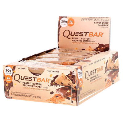 Quest Nutrition Sports Nutrition & More Peanut Butter Brownie Smash Quest Nutrition Quest Bar Protein Bar 12/Box (581317197868)