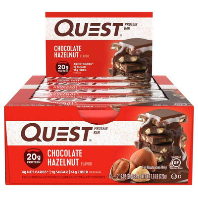 Quest Nutrition Sports Nutrition & More Chocolate Hazelnut Quest Nutrition Quest Bar Protein Bar 12/Box (581317197868)