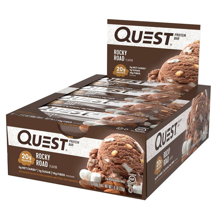 Quest Nutrition Sports Nutrition & More Rocky Road Quest Nutrition Quest Bar Protein Bar 12/Box (581317197868)