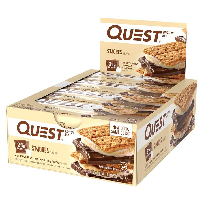 Quest Nutrition Sports Nutrition & More S'Mores Quest Nutrition Quest Bar Protein Bar 12/Box (581317197868)