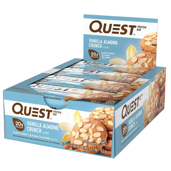 Quest Nutrition Sports Nutrition & More Vanilla Almond Crunch Quest Nutrition Quest Bar Protein Bar 12/Box (581317197868)