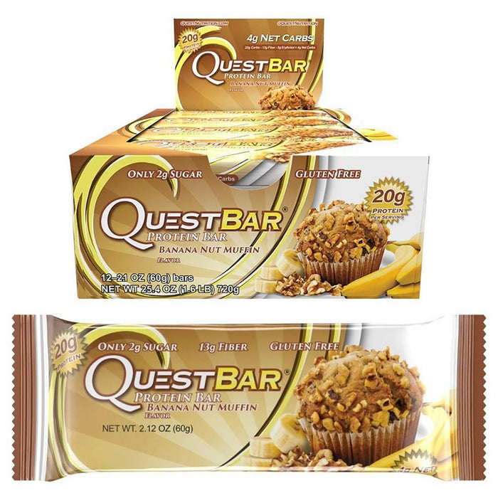 Quest Nutrition Sports Nutrition & More Banana Nut Muffin Quest Nutrition Quest Bar Protein Bar 12/Box (581317197868)