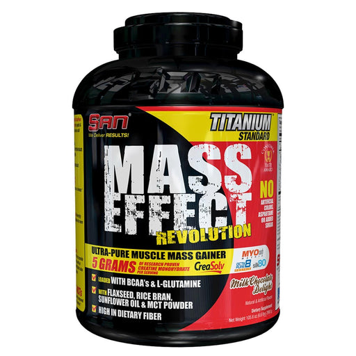 SAN Sports Nutrition & More SAN Mass Effect Milk Chocolate Delight 6.6 lbs - 105.6 oz 2993 g (581761171500)