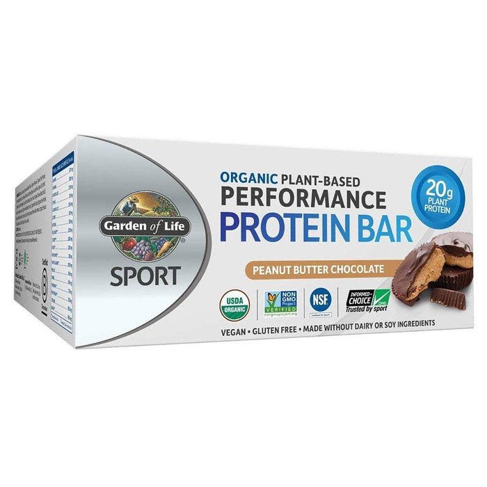 Garden of Life Bars Peanut Butter Chocolate Garden Of Life Sport Organic Plant-Based Protein Bar 12/Box (1154082603052)