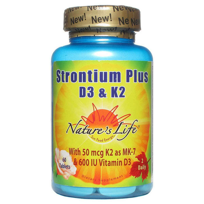 Nature's Life Vitamins, Minerals, Herbs & More Nature's Life Strontium Plus D3 & K2 60 Tabs (581448532012)