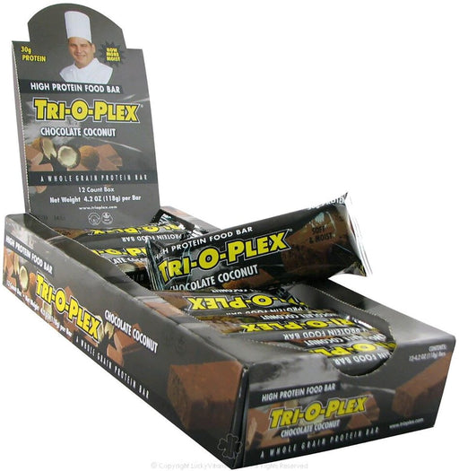 Chef Jay's Sports Nutrition & More Chocolate Coconut Chef Jay's Tri-O-Plex Bars 12/Box (580770136108)