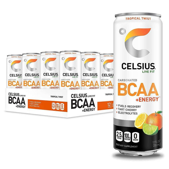Celsius Drinks Tropical Celsius BCAA + Energy Drink 12/Case (4546253324403)