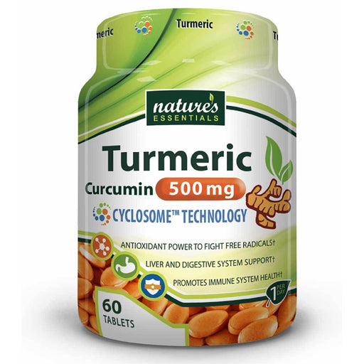 Nature's Essentials Vitamins, Minerals, Herbs & More Nature's Essentials Turmeric 500mg 60 Tablets (582593085484)
