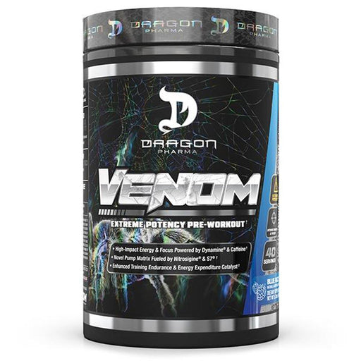 Dragon Pharma Pre-Workouts Blue Raspberry Dragon Pharma Venom 40 Servings (4512376750195)