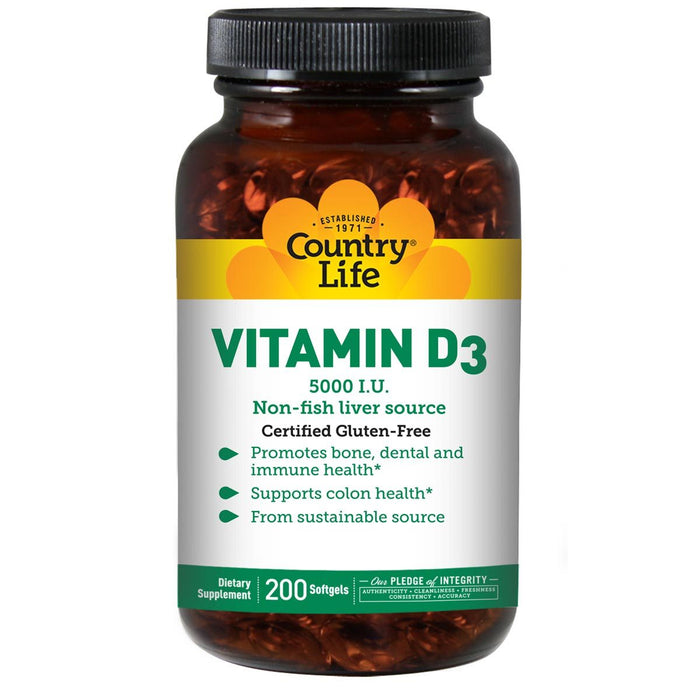 Country Life Vitamins, Minerals, Herbs & More Country Life Vitamin D3 5000IU 200 Gels (580984438828)