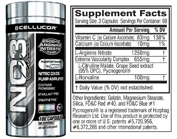cellucor no3 chrome ingredients