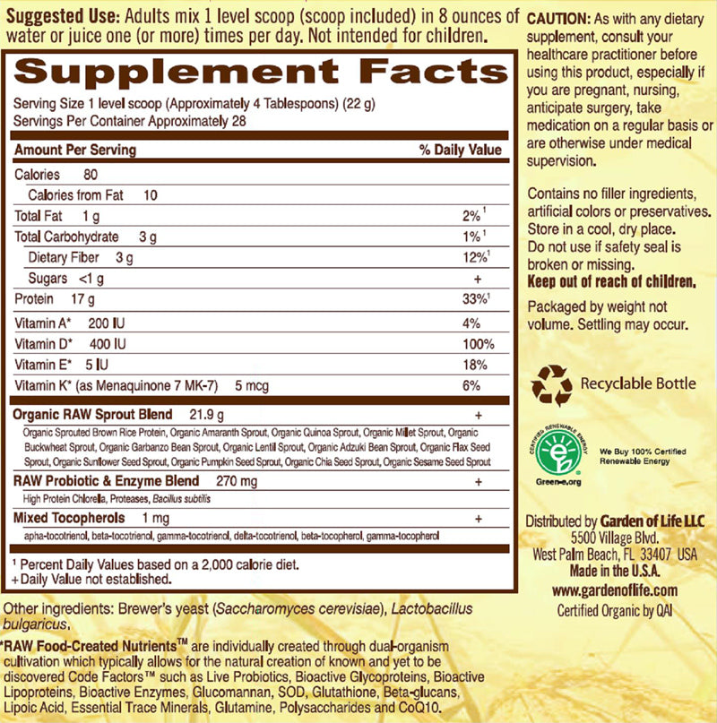 Garden Of Life RAW Protein, Organic And Vegan Protein Side Effects U0026 Warning