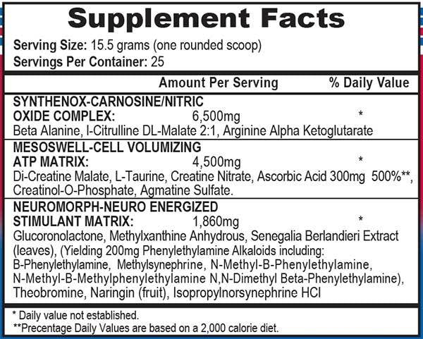 Mesomorph Label Ingredients