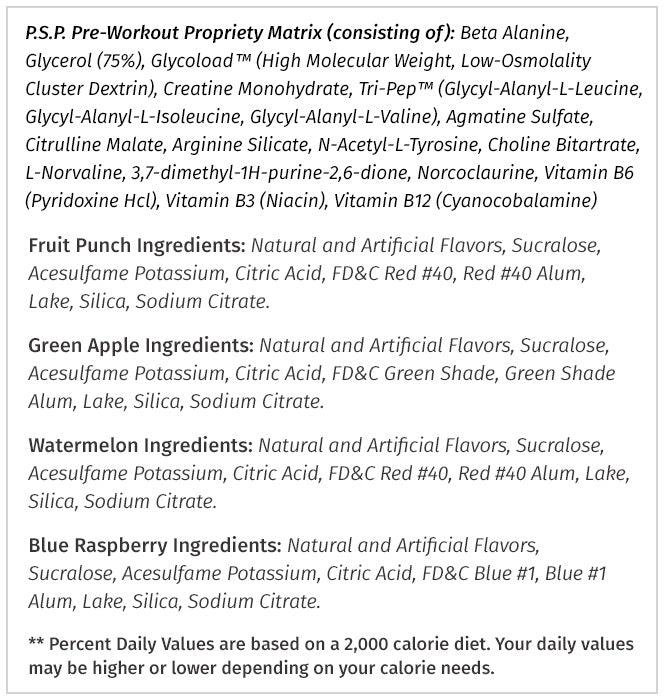 PSP Ingredients