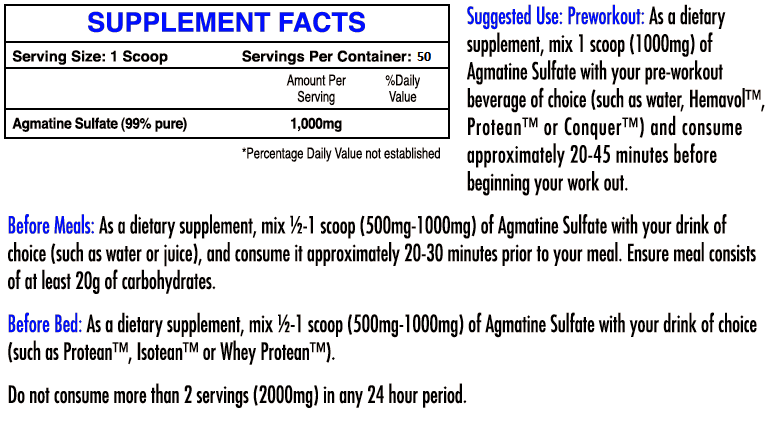 iforce agmatine sulfate label